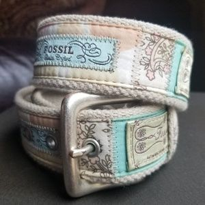 Fossil Label Canvas Belt